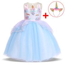 2020 Бесплатная повязка на голову, нарядное платье с единорогом для маленьких девочек, детские платья для девочек, детское платье принцессы, п...(Китай)