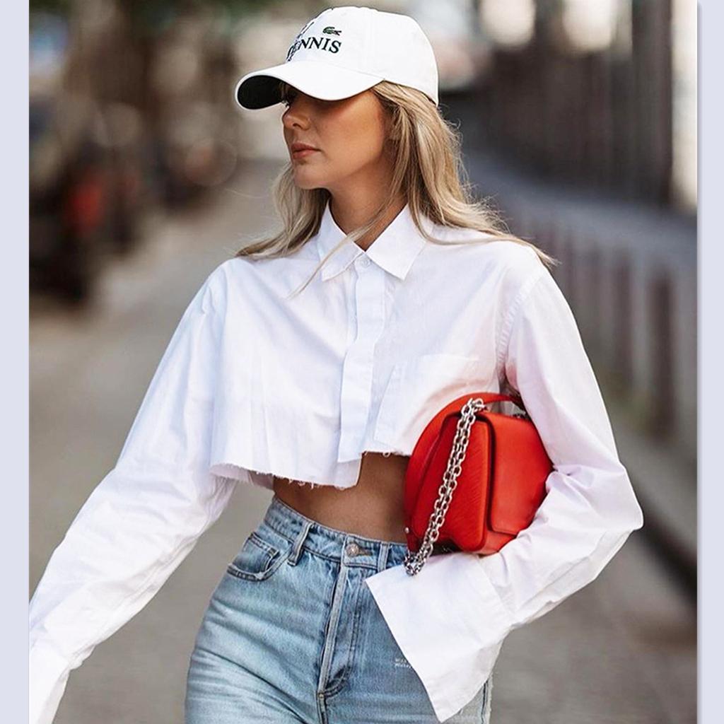 women ladies summer high waist white casual shirt