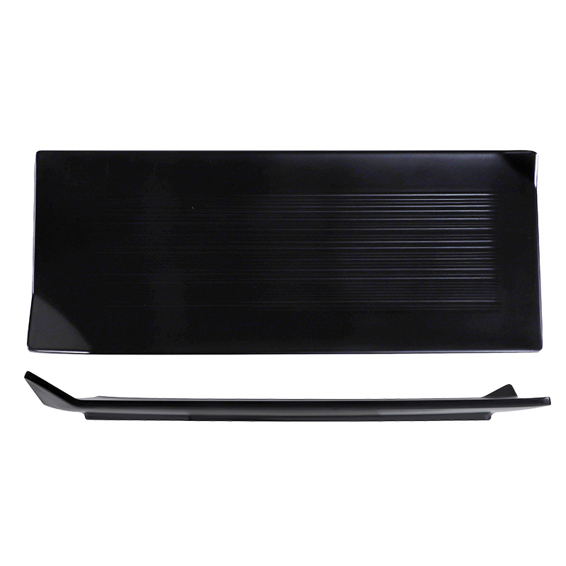 Factory Wholesale Melamine Black Japanese Sushi Plate, Restaurant Buffet Plate Rectangle Hotel Plate For Sushi