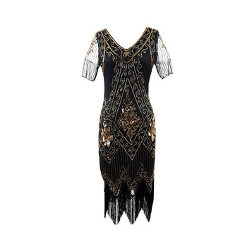Flapper Fringed Sequin Dress Fancy Costume Dress V Neck Vintage Beaded Evening Dress