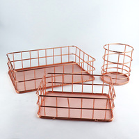 Nordic style Ins desktop finishing rose gold iron metal fruit storage basket