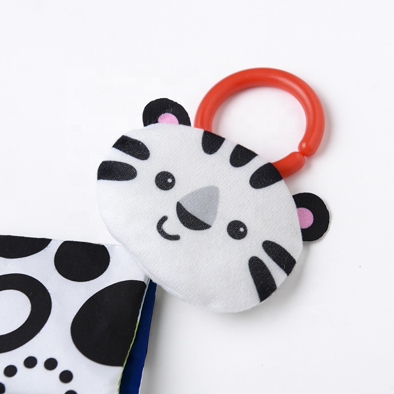 Educational Rattle Baby Toys Black And White Cat Teether Ring Paper Fabric Baby Cloth Book