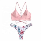 Nontoxic Pink Beachwear Women Bathing Suits Breathable Swim Suit Swimwear Womens Pink Print Bra Bikini Set Swimsuit Bathing Suit Swimwear Beachwear