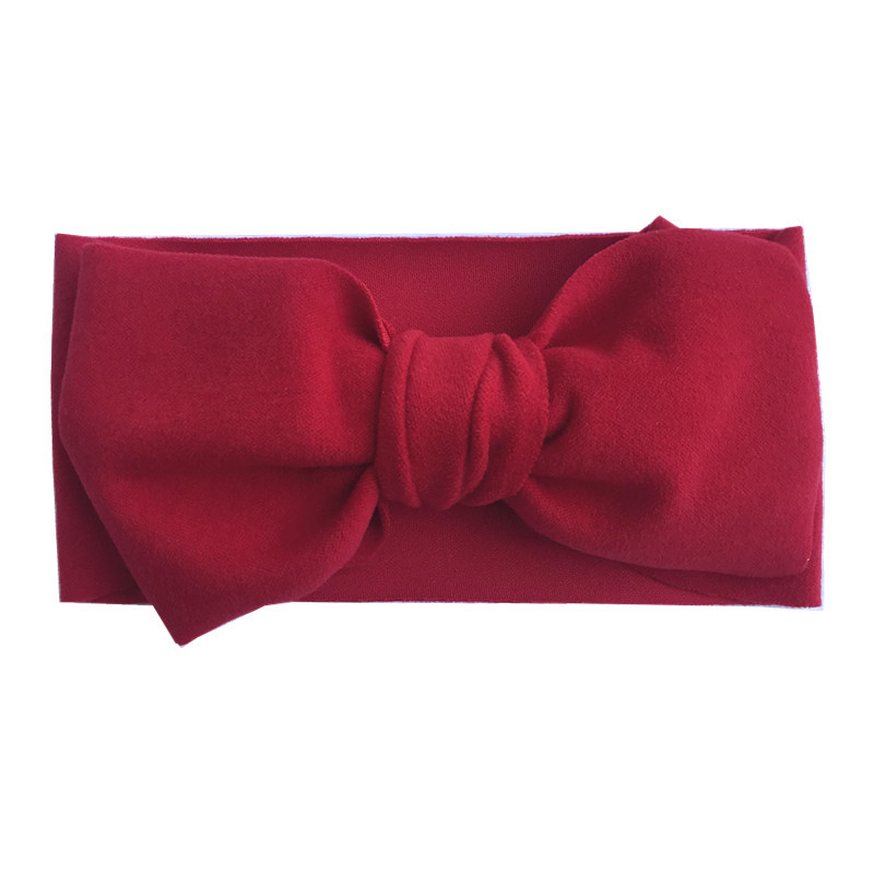 New Design Pure Color Pashmina Large Bow Baby Headband Warm Hair Band Hair Accessories For Kids