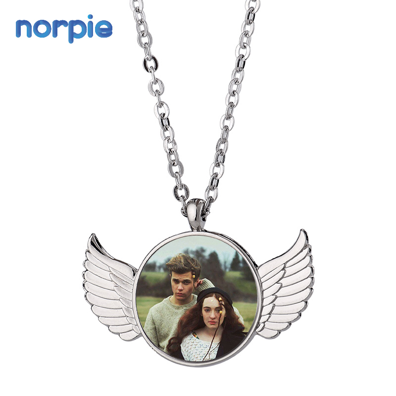 Sublimation Blank Metal Necklace Women Angel Wings Customized Necklace