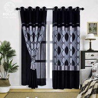 Fancy Joint Jacquard Curtain with Crepe and Perfect Satin for Living and Dining Room Decoration