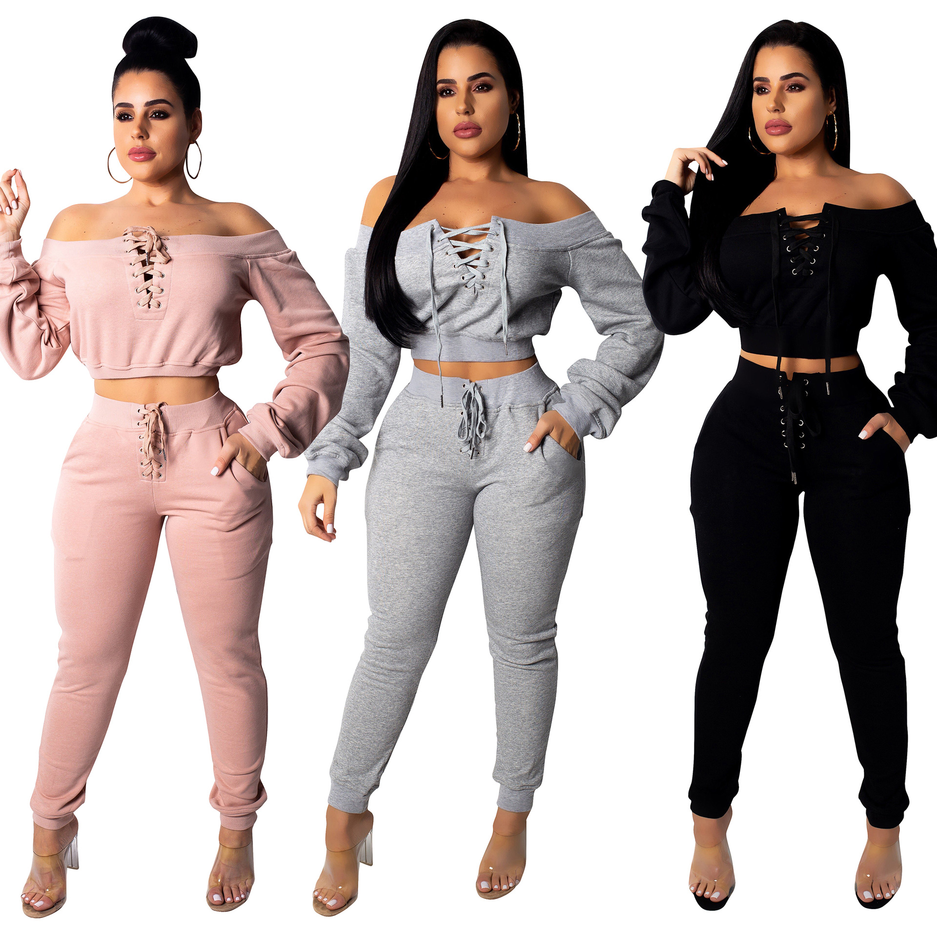 Boutique Long Sleeve Top Pants Outfits Two Piece Set Women Clothing