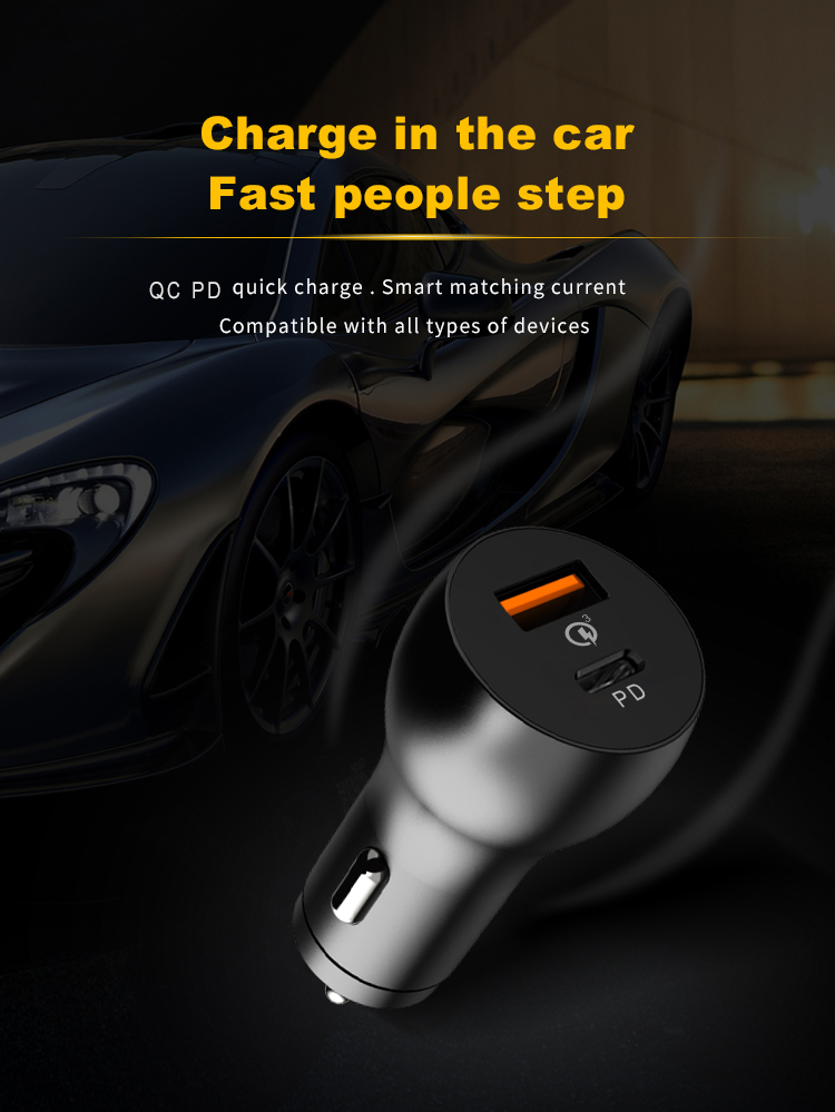 18W QC 3.0 usb  Cargador & 18W type-c pd power delivery Cargador  car charger 36w