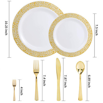 Disposable matte gold plastic dinnerware set dinner set hotel wedding party luxury tableware