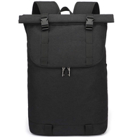Modern Fashion black grey Polyester Leisure Laptop rucksack Anti-Theft Roll Top Backpack