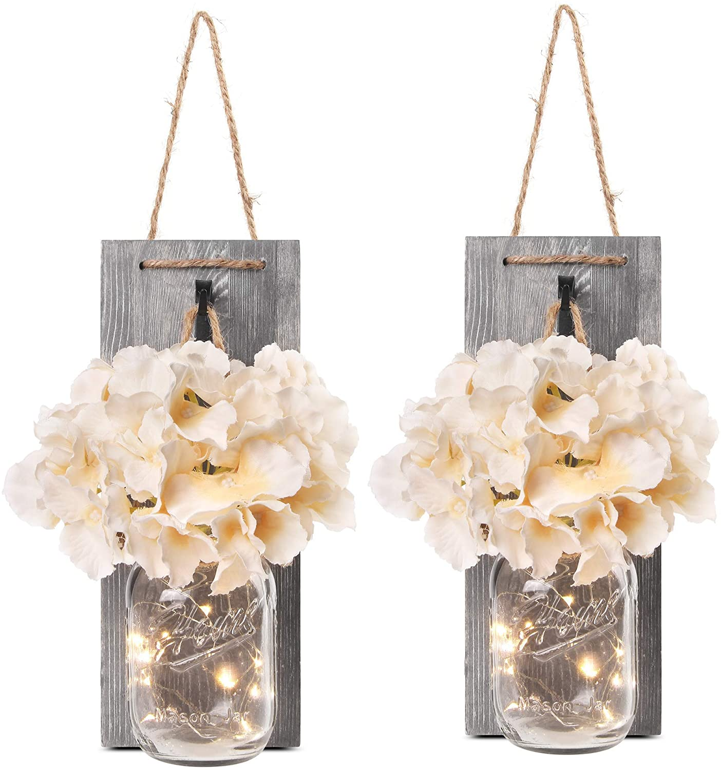 Jar Sconces LED Fairy Lights Vintage Iron Hooks Silk Hydrangea Flower and LED Strip Lights Design for Home Kitchen Decoration
