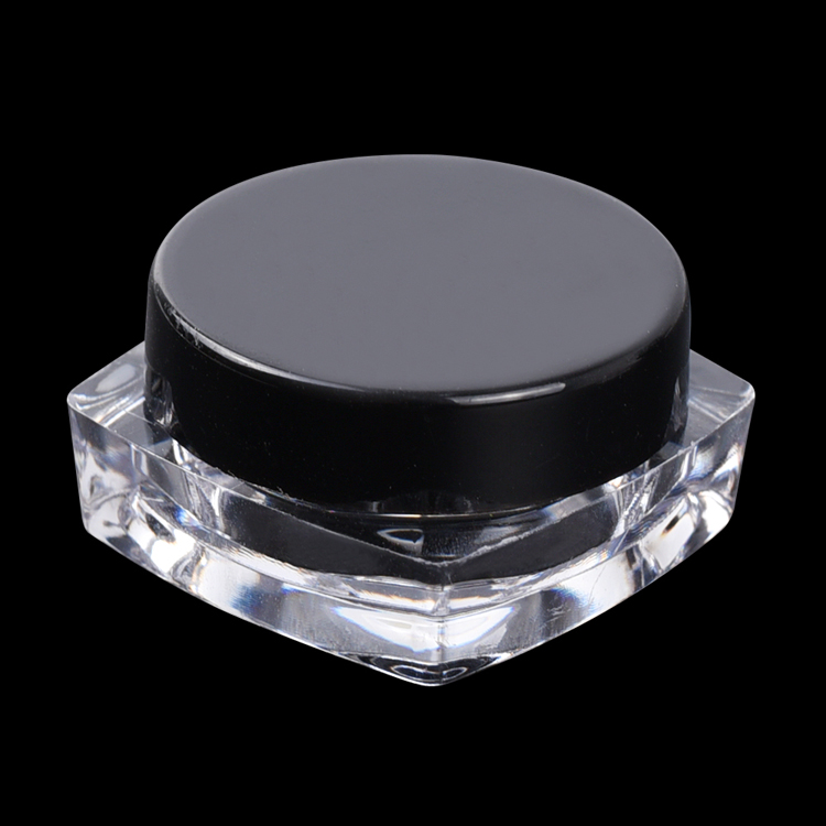 Round makeup beauty cosmetic jar 3g acrylic loose powder glitter transparent jar mini clear plastic cosmetic cream jar