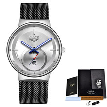 2020 японский кварцевый механизм высокое качество LIGE женские полностью стальной ремешок Розовое золото водонепроницаемые женские часы дроп...(China)