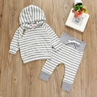 Infant baby outfits baby gray hoodie+hat 2 piece sets kids clothing suits baby boys clothes set clothing