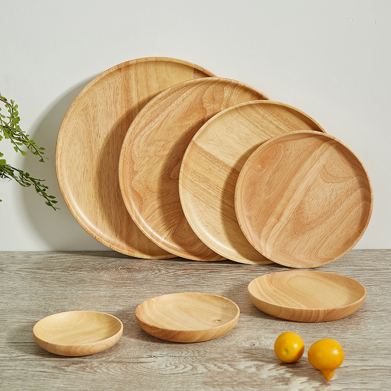 Eco-Friendly Reusable Bamboo Cutlery Round Wooden Bamboo <strong>Plate</strong>