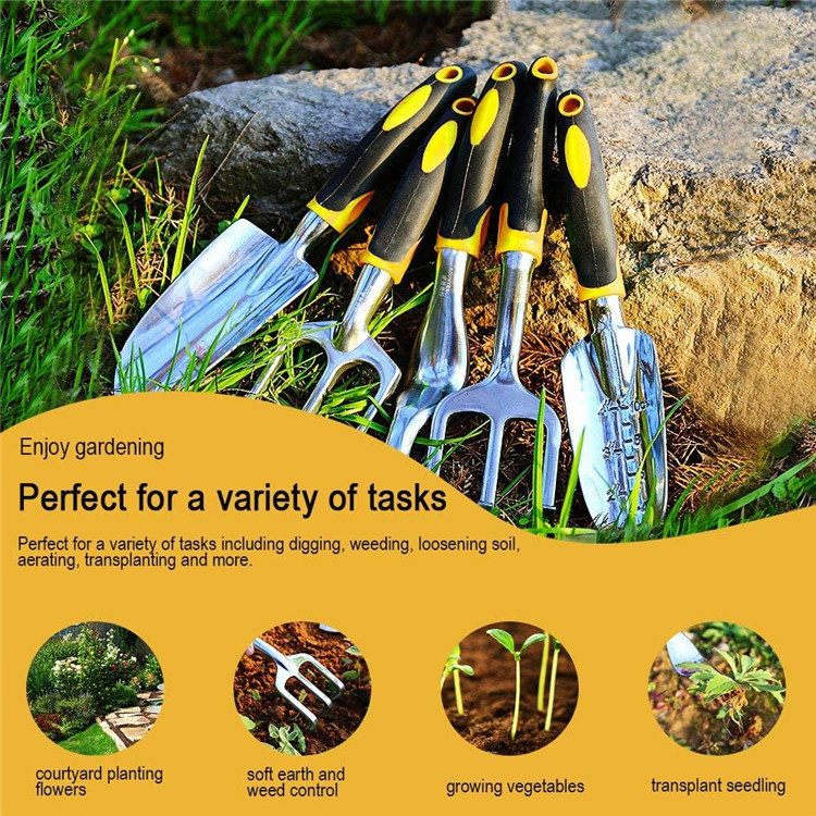 Gardening Tools-5 Piece Heavy Duty Hand Tool Kit-Resistant Trowel Cultivator Weeder Sets for Flower and Vegetable Plants Care