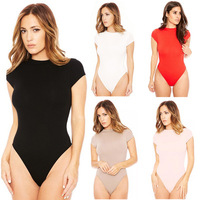 Womens Ladies Wrap Crew Neck Plunge Bodysuit Short Sleeve Leotard Sexy Top Tee