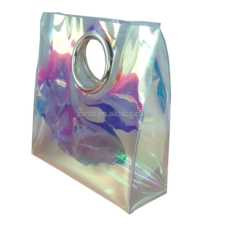 ZORAS Holographic Clear Cosmetic Bag PVC Travel Laser Bag Iridescent Makeup Bag