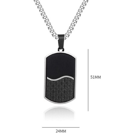 Two Tones Black Silver Factory Wholesale Surgical Stainless Steel Carbon Fiber Inlay Matte Finish Dog Tag Pendant Chain Necklace