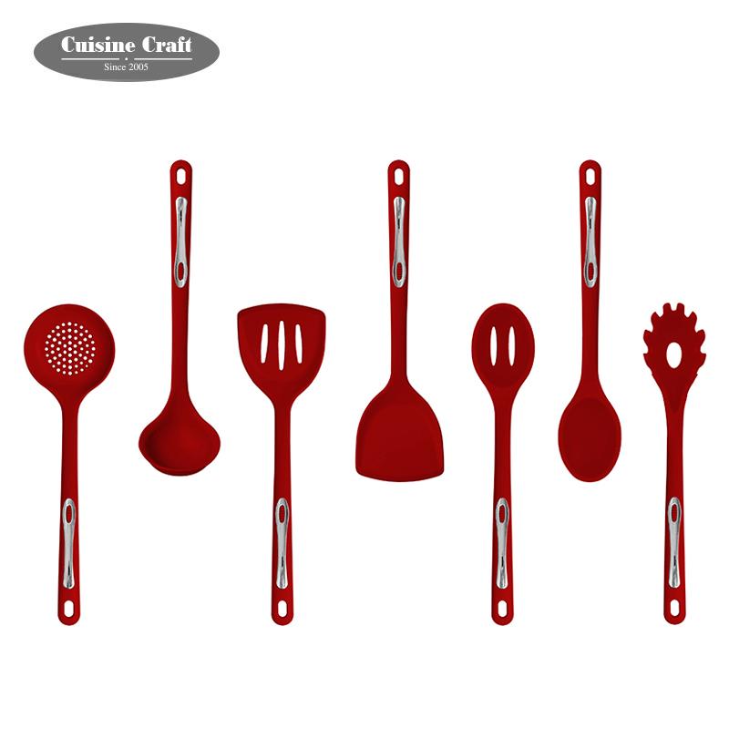 2020 नई डिजाइन रसोई खाना पकाने के बर्तन और उपकरण एफडीए आराम संभाल सिलिकॉन बर्तन सेट के साथ OEM ब्रांड