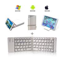Stock portable slim aluminium foldable bluetooth keyboard with muti-function stand holder