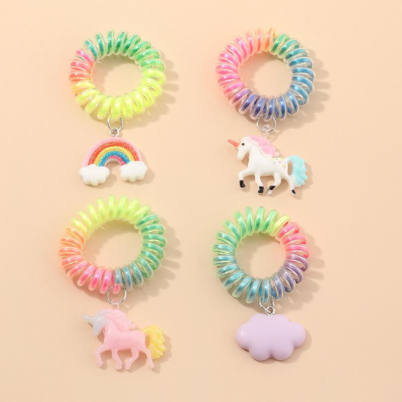 HOVANICI Cincin Rambut Putri Duyung, Ikat Rambut Kabel Telepon Liontin Kupu-kupu Unicorn Akrilik Transparan Sederhana Kreatif