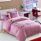 High quality comfortable reactive printing 100% cotton 4pcs bedding set pink bed
