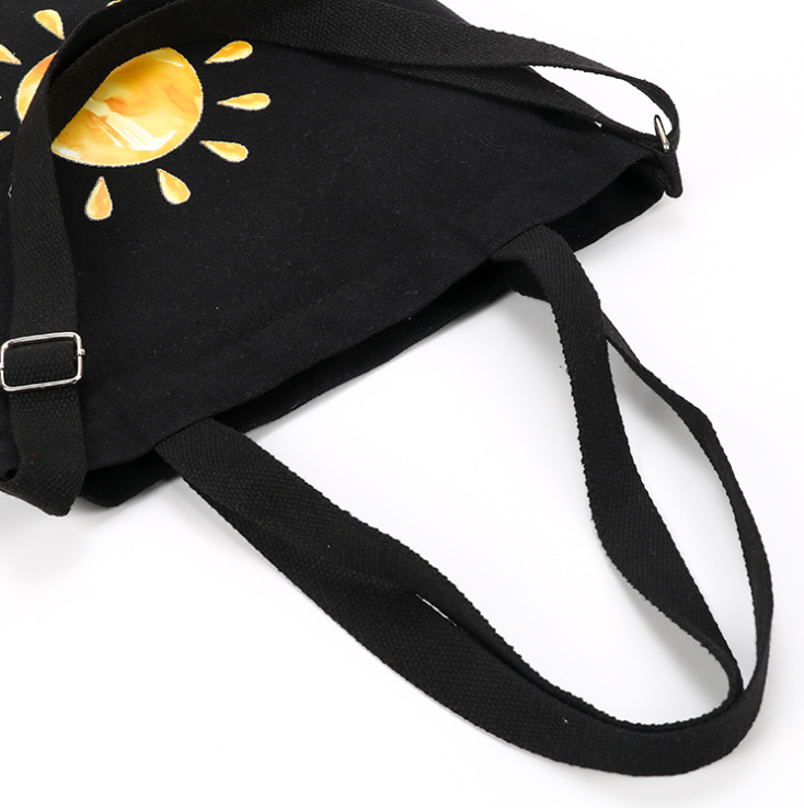 Hot sale black cotton canvas tote bag sling cross body bag