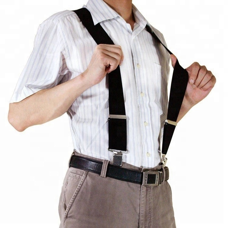 Popular 4 clip adjustable elastic <strong>mens</strong> stripe belt <strong>suspenders</strong>