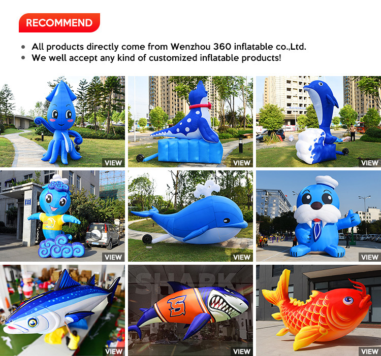 Blue Inflatable Costume Dolphin Cartoon for Advertising Decoration Animal statue Giant inflatable Funny dancing fish For Sale