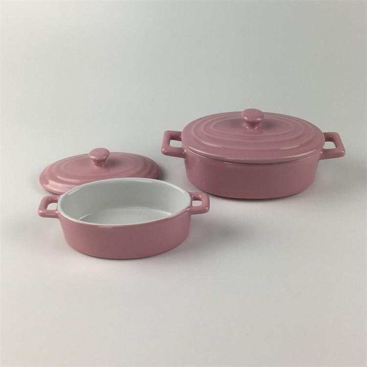 Restaurant kitchenware cooking pots solid color oval shape casserole ceramic pot