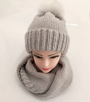 Wholesale Custom Winter Beanie Woman Baby Kid Glove Attached Scarf And Hat Set Ladies
