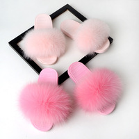 Can Custom Logo ! New Fur Slippers Women Real Fox Fur Slides Home Furry Flat Sandals Female Cute Fluffy House Shoes Luxury Fur