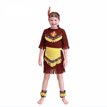 2019 Easy Indian Native Girl Cosplay Fancy Dress Women Costumes Cosplay Kids Brown Half Sleeve Country Girl Halloween Costume