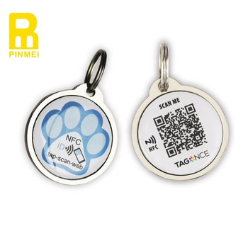 QR code NFC pet tag tracking dog tag epoxy RFID tags with blister card