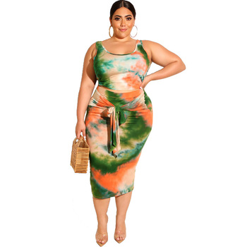 Women Stretchy Sexy Two 2 Piece sets Outfits Bodycon sleeveless Long tie dye Plus Size dress