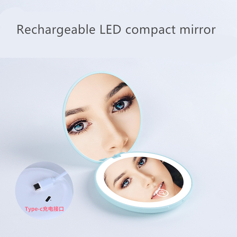 Stock led mirror lampsrechargeable compact pocket makeup mirror