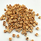Wholesale 7mm Plastic Wood Color Letter Beads Cube Acrylic Alphabet Beads For Jewelry Making And Children's Educational Toys