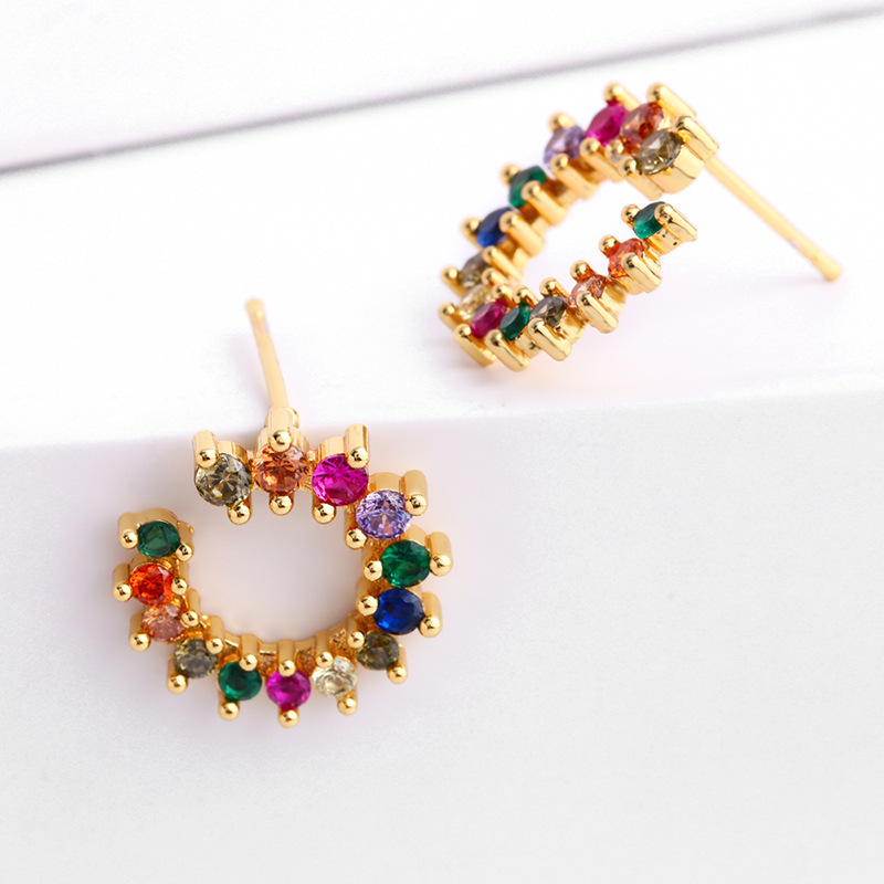 Fashion High Quality Jewelry 18K Gold Plating Colorful Crystal Cubic Zirconia CZ Flower Stud Earrings For Girlfriend Gifts