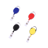 Retractable Pull Badge Reel ABS Plastic ID Lanyard Name Tag Card Badge Holder