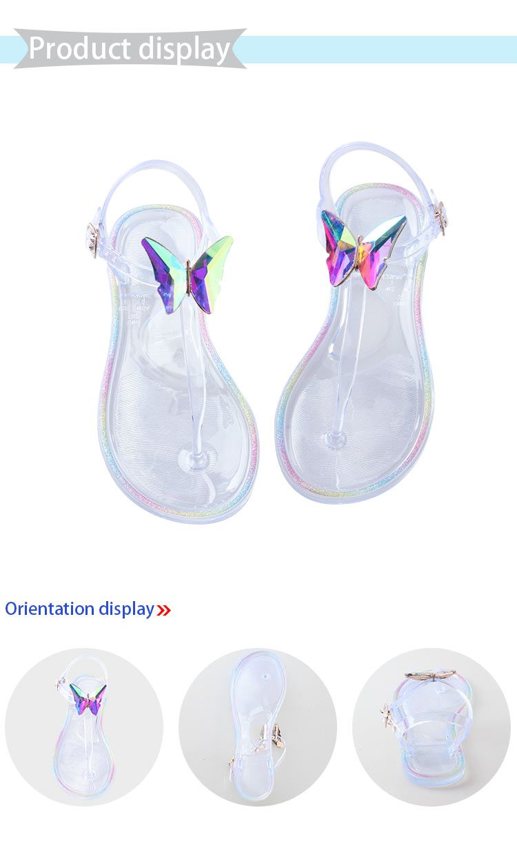 Woman Fashion Beach Jelly Summer Flat PVC Butterfly Rhinestone Sandals