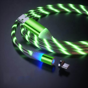 Hot selling colorful 2.4a charging micro usb 8pin type c 3in1 magnetic cable led light for iphone apple samsung mobile phone