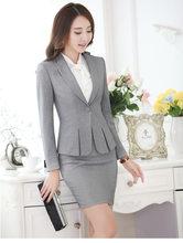 Женский брючный костюм для офиса, черный, серый, красный костюм из пиджака и брюк размера плюс, 4XL, 5XL(Китай)