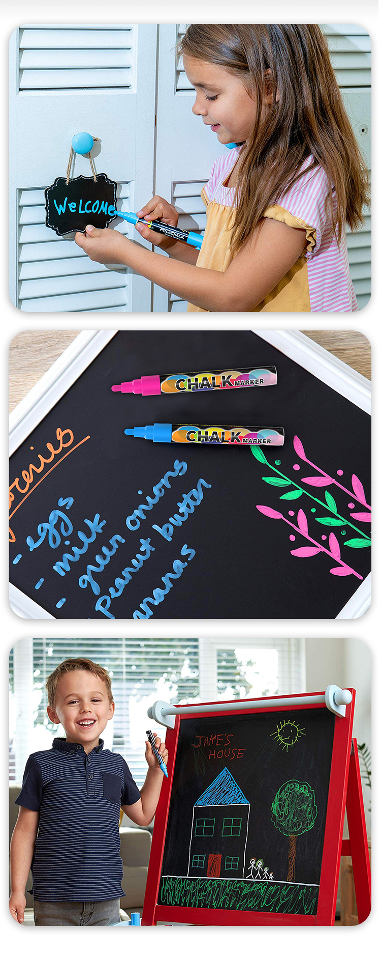 Chalkboard washable Chalk Markers-8-20 Colors/6mm reversible tips white chalk marker pen set
