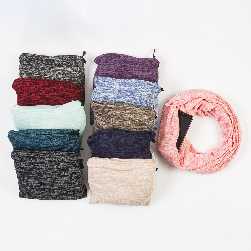 Premium Plain Infinity Scarf Fantastic Soft Stretchy Jersey Knitting Travel Scarf with Zipper Pocket
