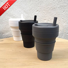 Wholesale Portable Custom Logo Eco Friendly BPA Free Reusable Silicone Folding Collapsible Coffee Cup straw