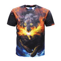 Custom sublimation 3D digital printing flame wolf printed T-shirt