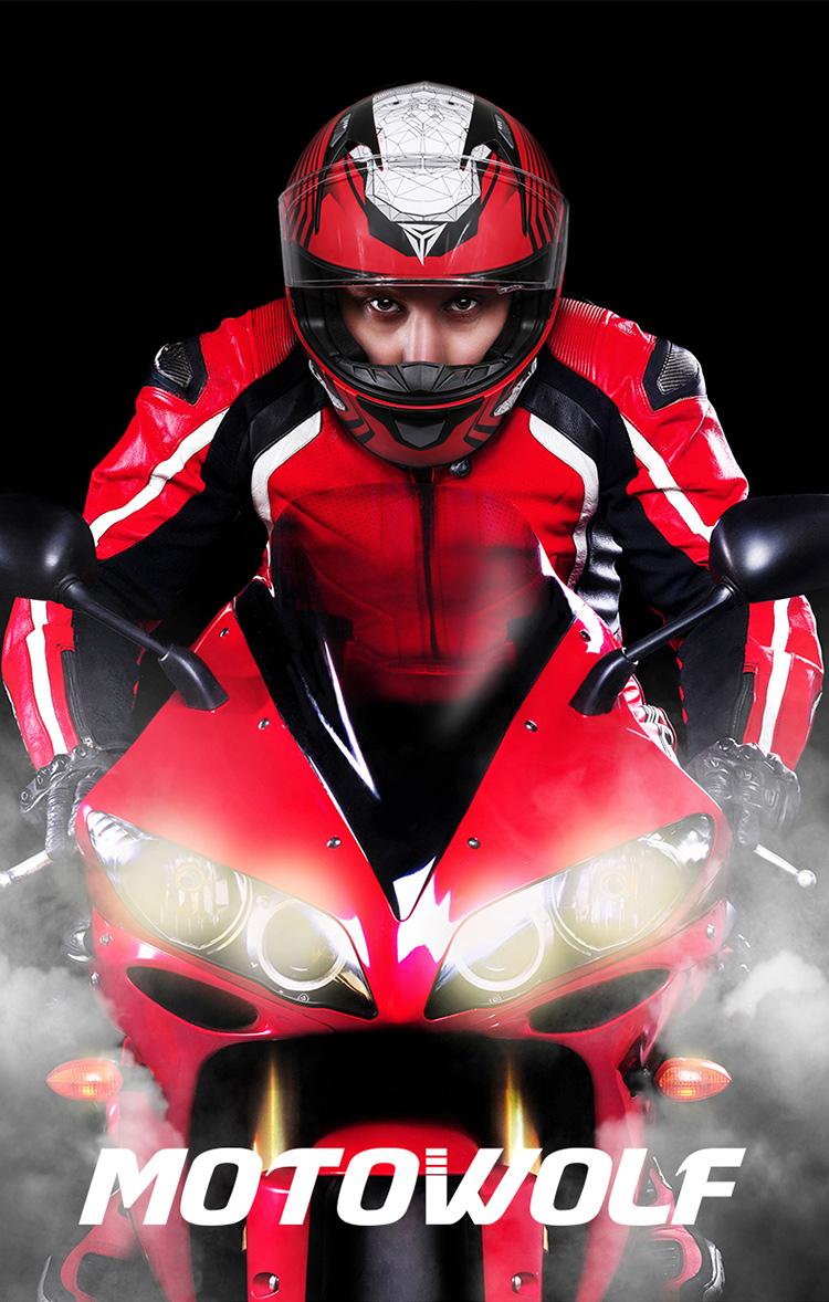 MOTOWOLF Casque Moto Black Visor Helmets Motorcycle Motorcycle Safe Helmet Mens For Racing