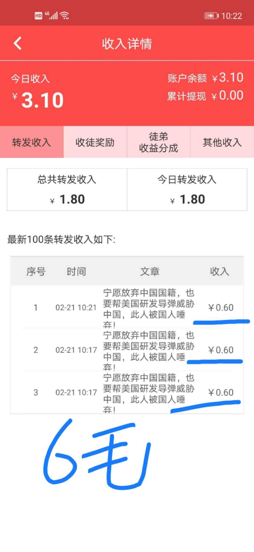 大五福app:转发一次被阅读奖励0.32-0.6元,永久5元提现。插图1