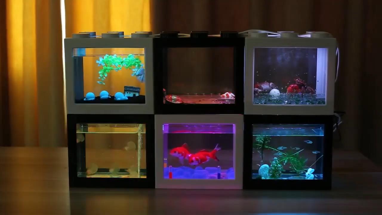 Petite écologique table de bureau USB mini combinaison acrylique transparent betta poisson aquarium avec lumière